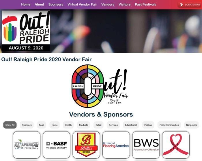 Out Raleigh Pride 2020 Vendor Fair